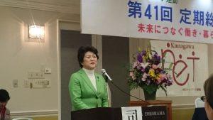 3月5日の神奈川ネット総会で挨拶される大河原まさ子さん